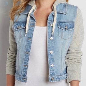 Maurices Cropped Denim Jacket with Knitted Hood